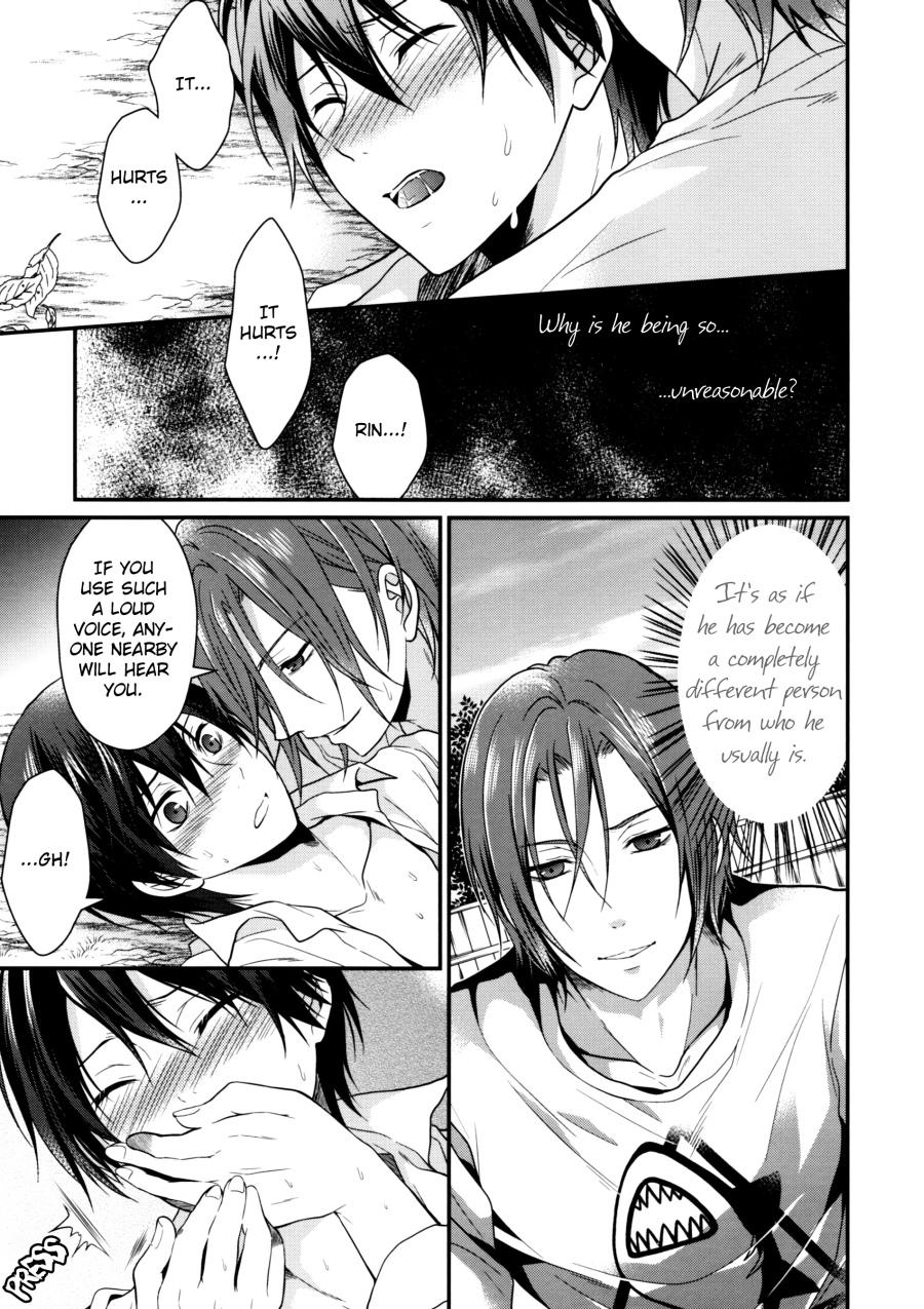 (SUPER23) [Aiou (Aoshi Hina)] Hen na T-shirt Kisetara Kareshi ga Okashiku Natta | Having donned an odd t-shirt, the boyfriend became strange (Free!) [English] [Arigatomina] 9